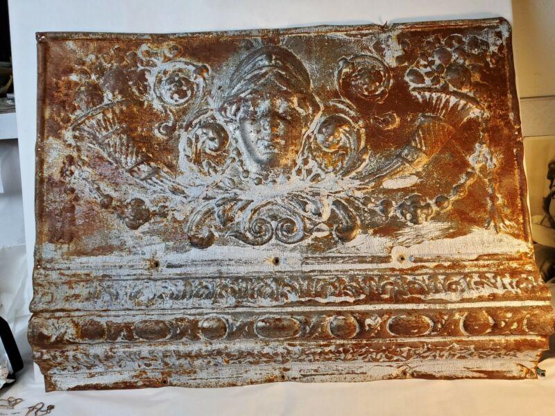 """Antique Art Nouveau Ceiling Tile Very Ornate 24""""×18"""""""