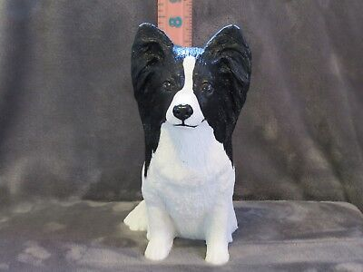 BLACK AND WHITE PAPILLON PLASTER DOG STATUE HAND CAST AND PAINTED BY T.C. SCHOCH