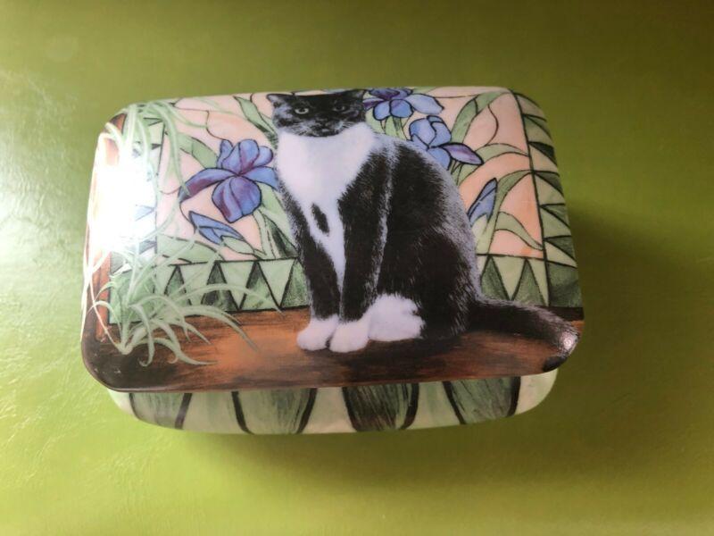 PERSIS CLAYTON WEIRS Wild Wings Cat Kitten Ceramic Hinged Jewelry Box w/cushion