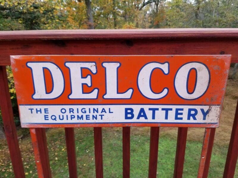 ORIGINAL DELCO BATTERY METAL SIGN DISPLAY RACK MOTOR OIL SPARK PLUG VINTAGE