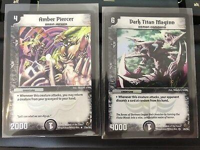 Duel Masters Trading Card 2x Rare Holo Dark Titan Maginn / Amber Piercer