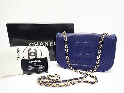 Authentic CHANEL Chain Chain Shoulder Bag Lamb Skin Blue Gold Tone Metal