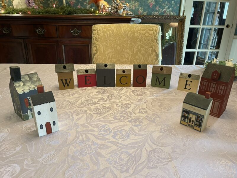 Vintage Primitive Welcome Sign/ Houses Blocks From 1980's