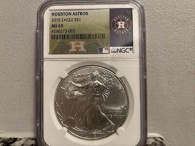2015 Silver Eagle NGC Ms 69 Houston Astros
