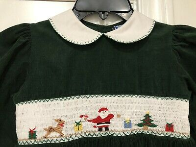 Green Santa Dress (Carriage Boutique Smocked Green Corduroy Santa Reindeer Christmas Dress Size)