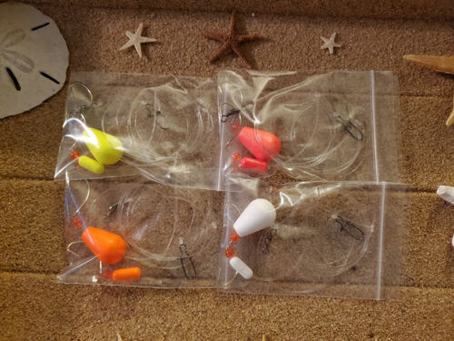 4 Hi / Low Surf Fishing Rigs, Pompano, Whiting, Spots, Etc. Fluorocarbon Line.