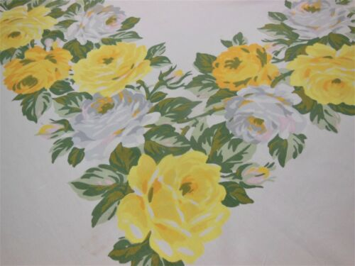 Yellow White Large Roses Vintage Tablecloth