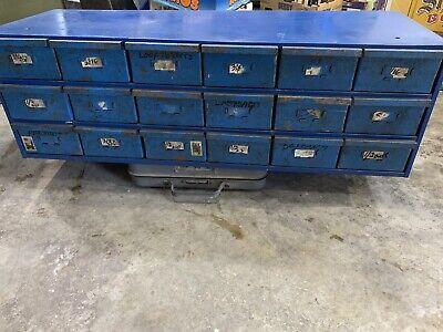 Vintage Industrial Shop 18 Drawer Metal File Cabinet Storage Bin Organizer Equip