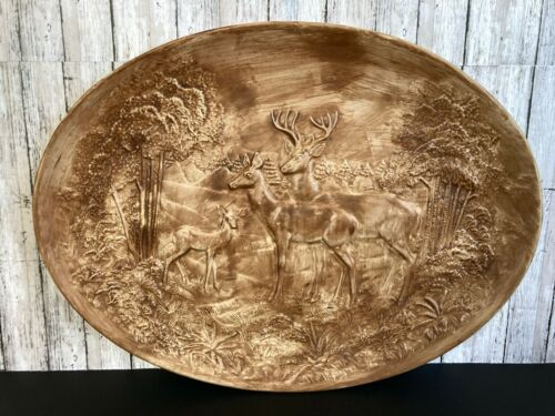 "Vtg Holland Mold Deer Plaque 17 1/4"" Oval Nature Wildlife Scene Cabin Rustic"