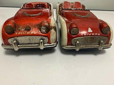 Vintage Bandai Triumph TR3  Tin Litho Friction Cars - 2 Cars