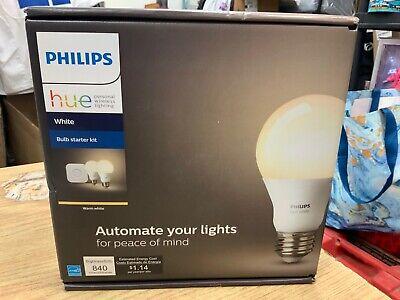 Philips Hue Warm White Bulb Starter Kit 840 Lumen 455287 2 Pack Brand NEW SEALED