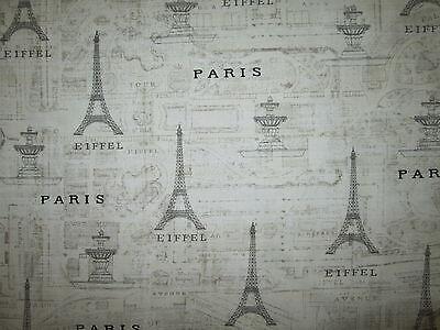 Paris Land Mark Lanmarks Map French Eiffel Tower Tan Cotton Fabric Fq