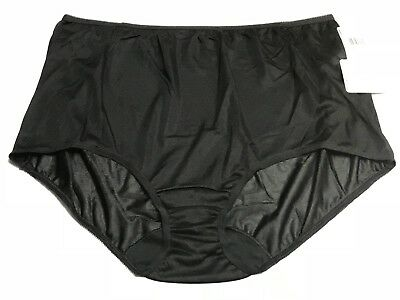 LORRAINE 100% Nylon Full Cut Brief Panties BLACK  PLUS SIZE 11 - Full Cut Black Panty Brief