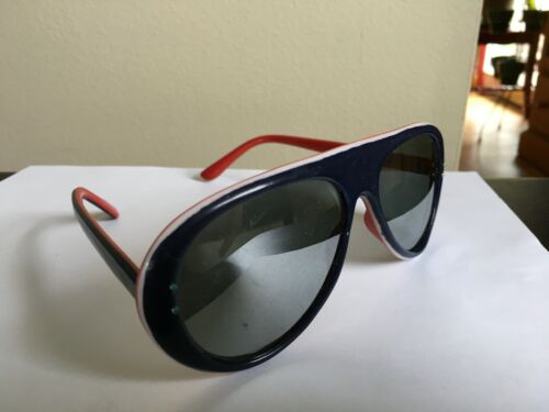 VINTAGE 70S STYLE EYES RED WHITE BLUE SKI SUNGLASSES PATRIOTIC LAYERED PLASTIC