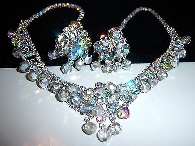 VINTAGE JULIANA SILVER AB RHINESTONE BEAD NECKLACE EARRING SET DEMI PARURE