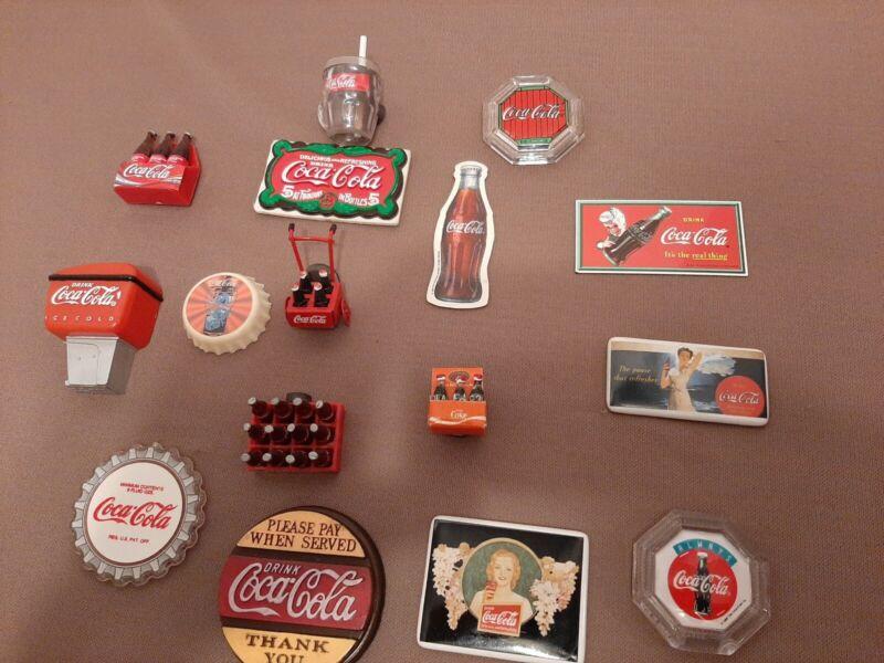 Lot of 16 Vintage Coke Coca-Cola Refrigerator Magnets, Assorted VGC!