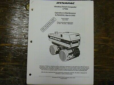 Dynapac Lp852 Vibratory Trench Compactor Owner Operator Maintenance Manual