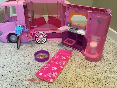2008 Mattel Barbie Doll Pink Dream Glamour Camper RV Motor home W/ Pop Out Tent!