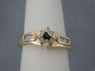 Beautiful Ladies Sapphire and Diamond Fashion Ring 14k Yellow Gold NOS