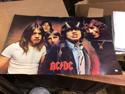 c1979 vintage AC DC promotional concert give away poster Atlantic 34 x 22 folded
