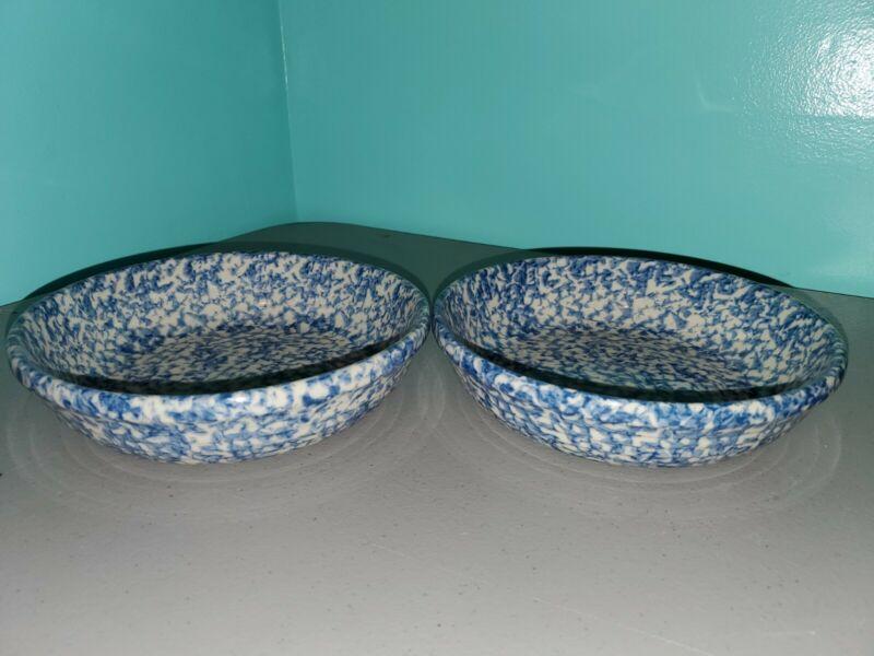 """LOT OF 2 Gerald E. Henn Workshops Roseville Blue Spongeware 7 3/4"""" X 2"""" Bowls"""