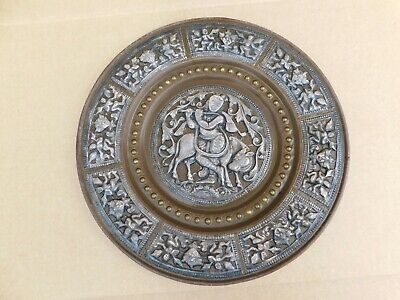Antique Chinese or India Hand Carved Figures Brass Plate