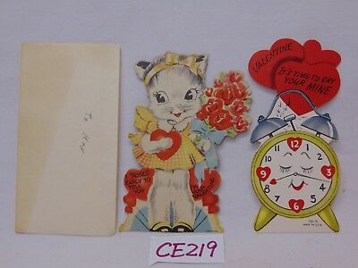 2 VINTAGE VALENTINES CARD 1930'S CLOCK-KITTEN-CAT W/FLOWERS-ROSED EARLY TO TELL