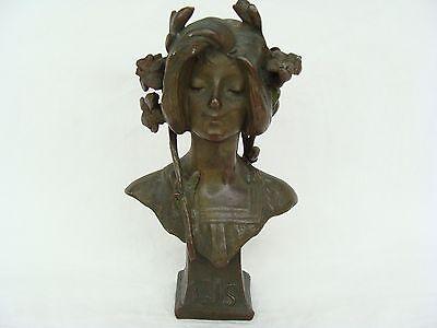 antique Art Nouveau Bronze Lady Lys Bust Figurine Statue Julien Causse French