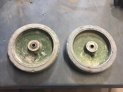 Pair Of Solid Rubber Grease Able Wheels Hit Miss Engine Cart Industrial Farm