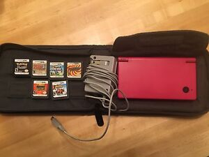 Nintendo DS i (Hot Pink) with 6 games, charger, and case