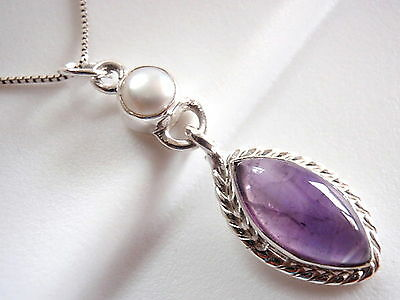 Amethyst and Cultured Pearl Rope Style Accent Necklace 925 Sterling Silver New Amethyst Cultured Pearl Necklace
