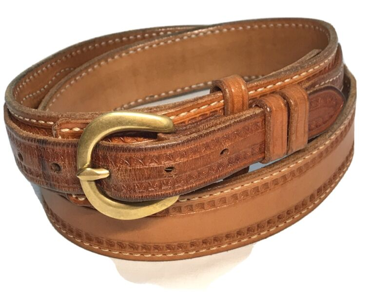 EL PASO SADDLERY CO. MAKERS Heavy Cowboy Belt no cartridge loops Sz 40 88152 EUC