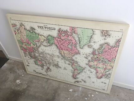 World map canvas painting 113 x 85cm art gumtree australia typo worlds map canvas gumiabroncs Gallery