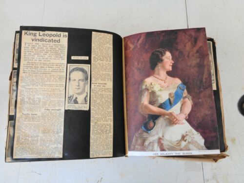 "Vintage Scrapbooks Queen Elizabeth WW II !939-44 Royal Large book 131/2""X 12"