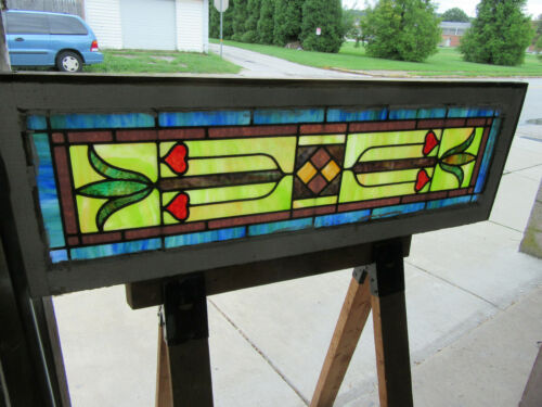 ~ ANTIQUE STAINED GLASS TRANSOM WINDOW ~ 48 x 16 ~ ARCHITECTURAL SALVAGE