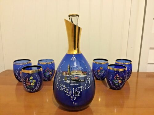 Italian Glass Decanter with 6 Glasses - Cobalt Blue with Gold Trim Hand Painted