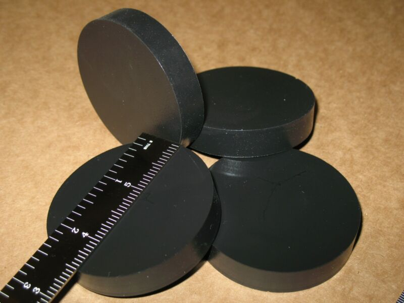 4 LARGE SORBOTHANE DISC CIRCLE FEET PAD 2.5x0.5in 64x12mm SILENT PC AMP FIRM 70D