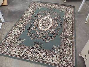 B26033 Lovely Floral Patterned Green Cream Floor Rug Mat Unley Unley Area Preview