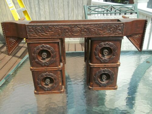 Antique Wheeler & Wilson Ornate Sewing Machine Cabinet Drawers side & Center