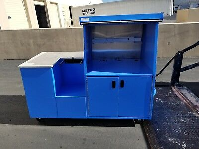 Pan-oston Blue Mobile Kiosk Register Stand Cart Pos Sales Counter Stainless Door