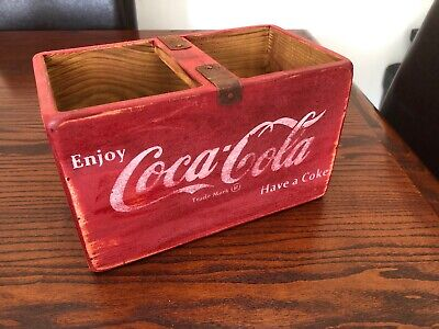 Vintage Style Red Coca Cola Wooden Box 25cm With Bar/handle
