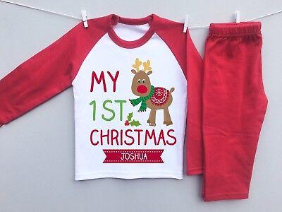 PERSONALISED BABY's 1st CHRISTMAS eve toddler pyjamas pjs set milestone reindeer