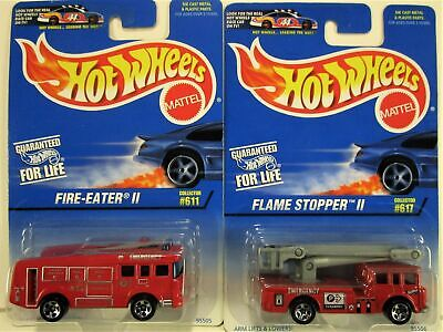HOT WHEELS BOTH 1997 FLAME STOPPER II AND FIRE EATER II TRUCKS NEW IN PACKAGES