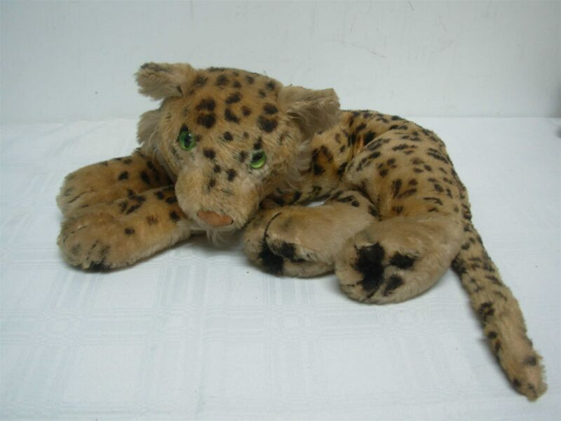 """VINTAGE STEIFF LAYING DOWN LEOPARD ~ 5 1/2"""" HIGH x 11"""" WIDE"""