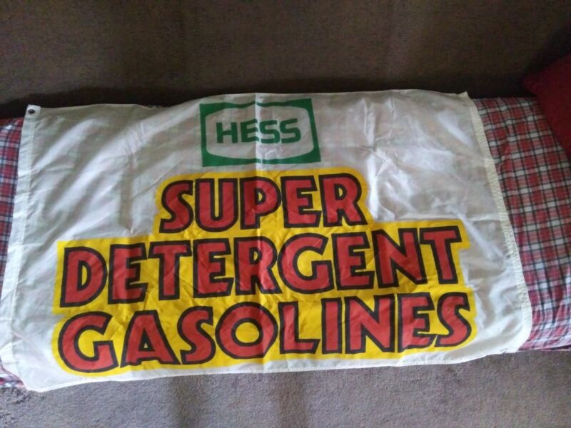 "Rare Vintage Hess Super Detergent Gasoline Cloth Flag Banner Sign  NOS 30""x48"""