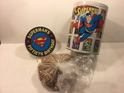 Unused Original Fiftieth Birthday SUPERMAN Pretzels Canister & Logo Pretzels ()
