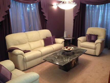 Beige Leather Lounge Suite with recliners Sans Souci Rockdale Area Preview