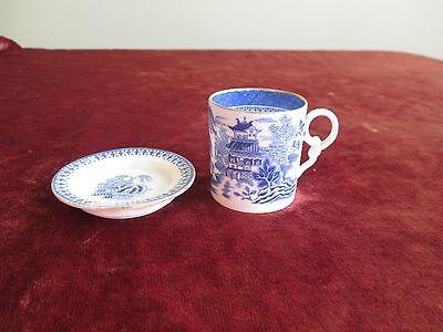 Antique 1867 Copeland Blue White Mandarin Willow Pattern Demitasse Cup & Saucer