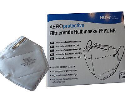 20x HUM AEROprotective ECHTE FFP2 Maske Atemschutzmaske Gesichtsschutz CE0534