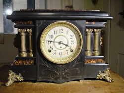 ANTIQUE RARE SETH THOMAS 1900 TEXEL ADAMANTINE 4 COLUMN MANTEL CLOCK WORKING